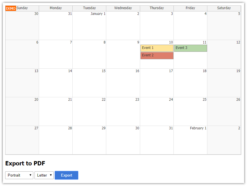 javascript monthly calendar pdf export