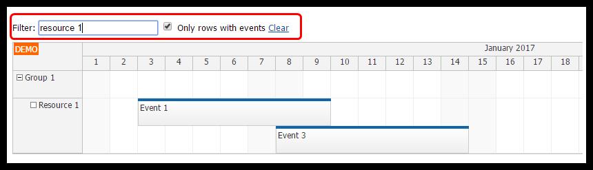 angular 2 scheduler row filtering
