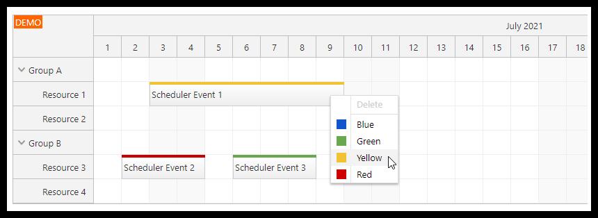 angular scheduler dynamic context menu