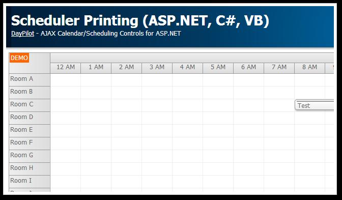 asp.net scheduler printing