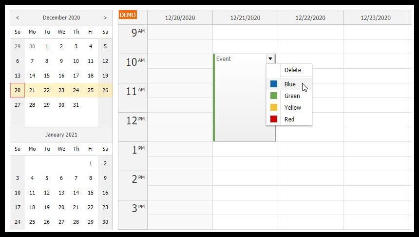 JavaScript Weekly Calendar in ASP.NET Core Application