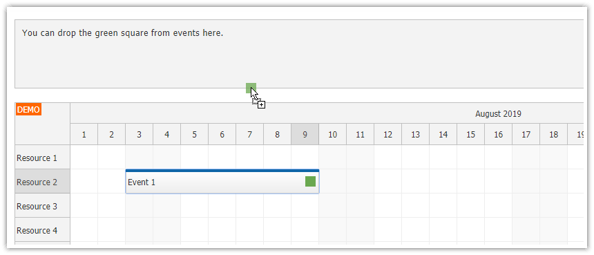javascript scheduler drag items out of events using html5 api