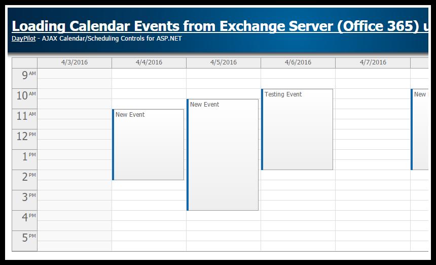 asp.net calendar exchange office 365 ews