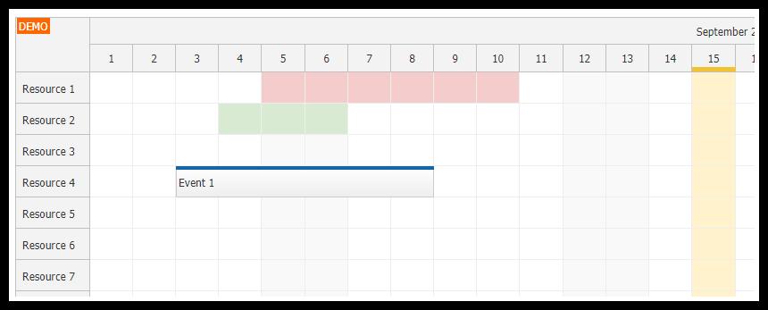 angular scheduler highlighting holidays