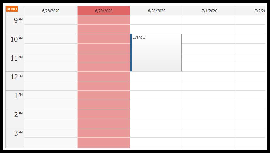 javascript calendar selecting highlighting columns