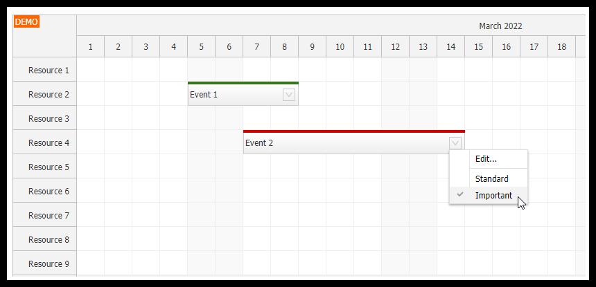 javascript scheduler event types
