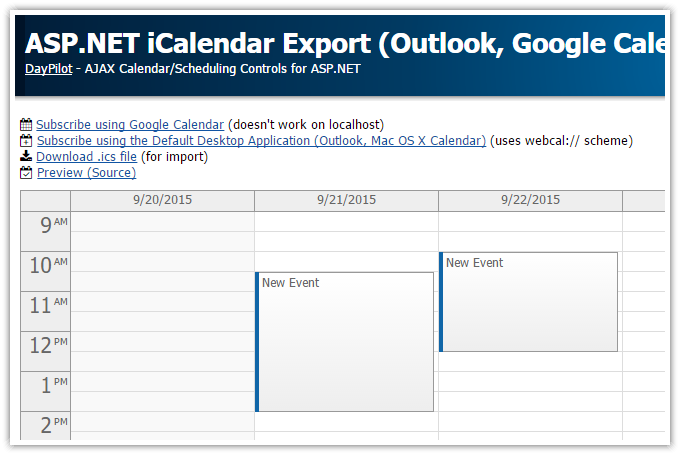 asp.net icalendar export outlook google calendar mac os x