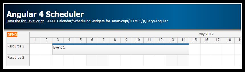 Angular 4 Scheduler Quick Start Project