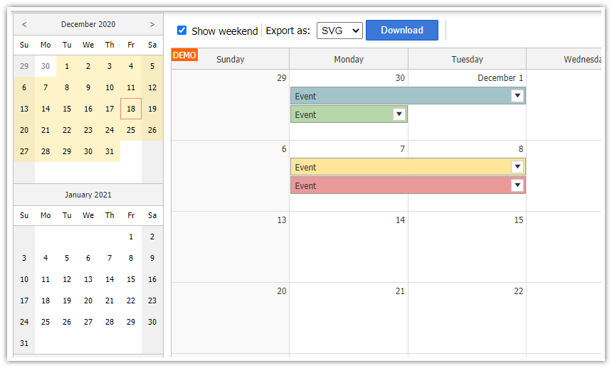 Using JavaScript/HTML5 Monthly Calendar in Spring Boot (Java)