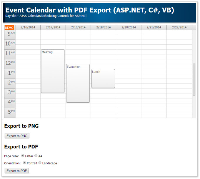 event calendar pdf export