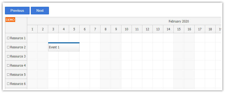 vue js scheduler changing visible date next previous