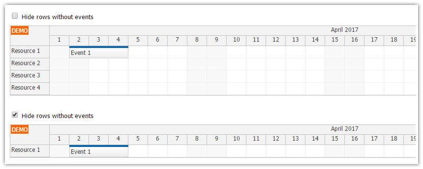 html5 scheduler hiding rows without events