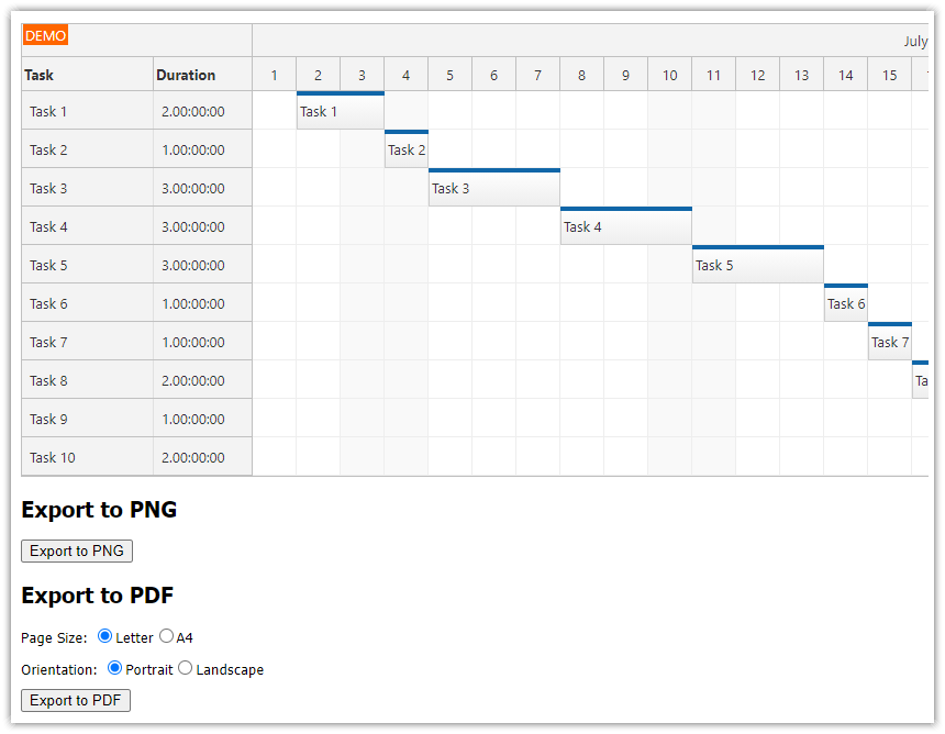 ASP.NET Gantt Chart PDF Export (C#, VB.NET)