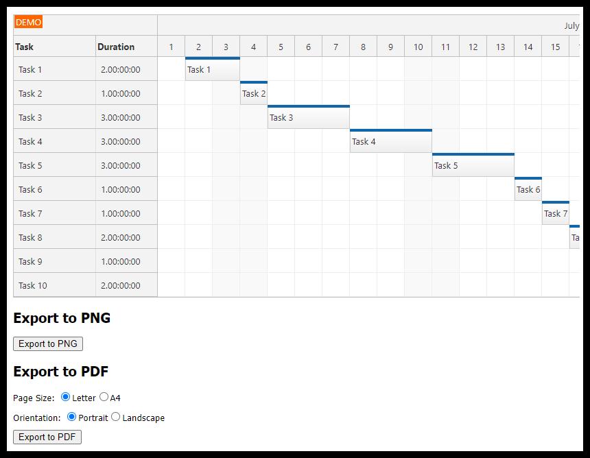 asp.net gantt chart control pdf export