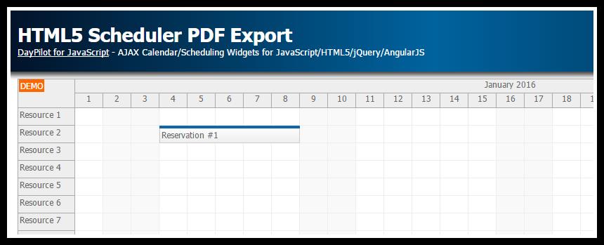html5 scheduler pdf export client side