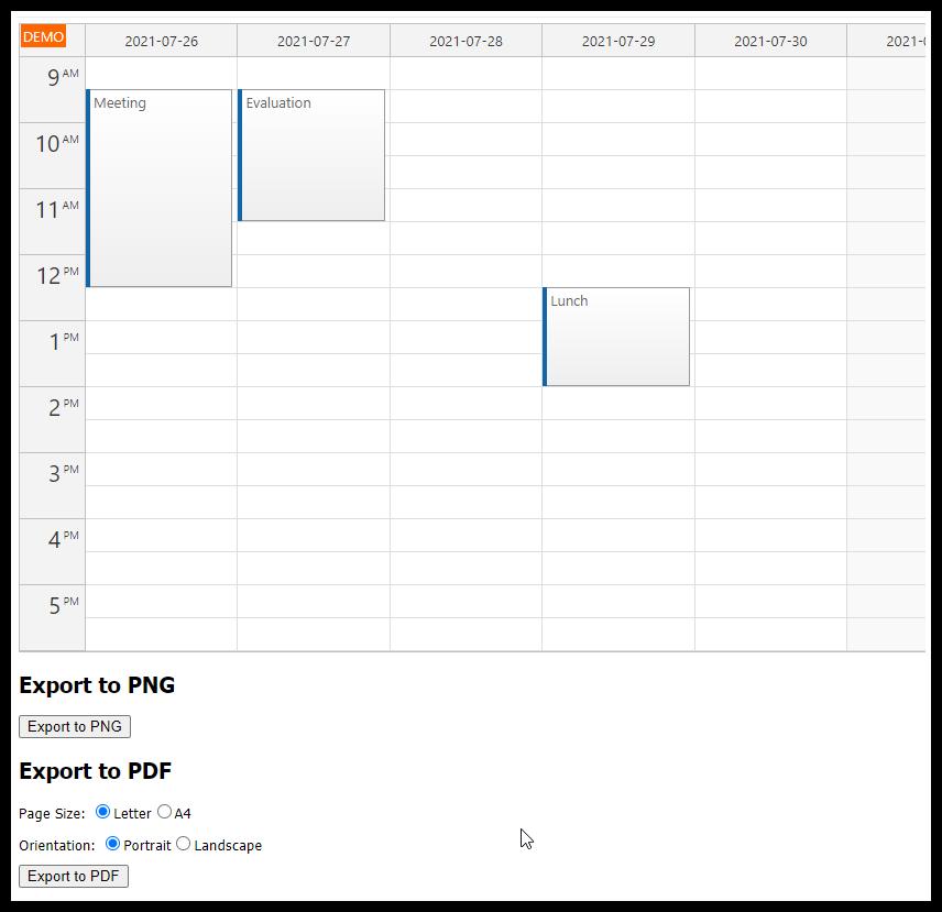 ASP.NET Event Calendar PDF Export (C#, VB)