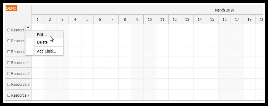javascript scheduler resource context menu