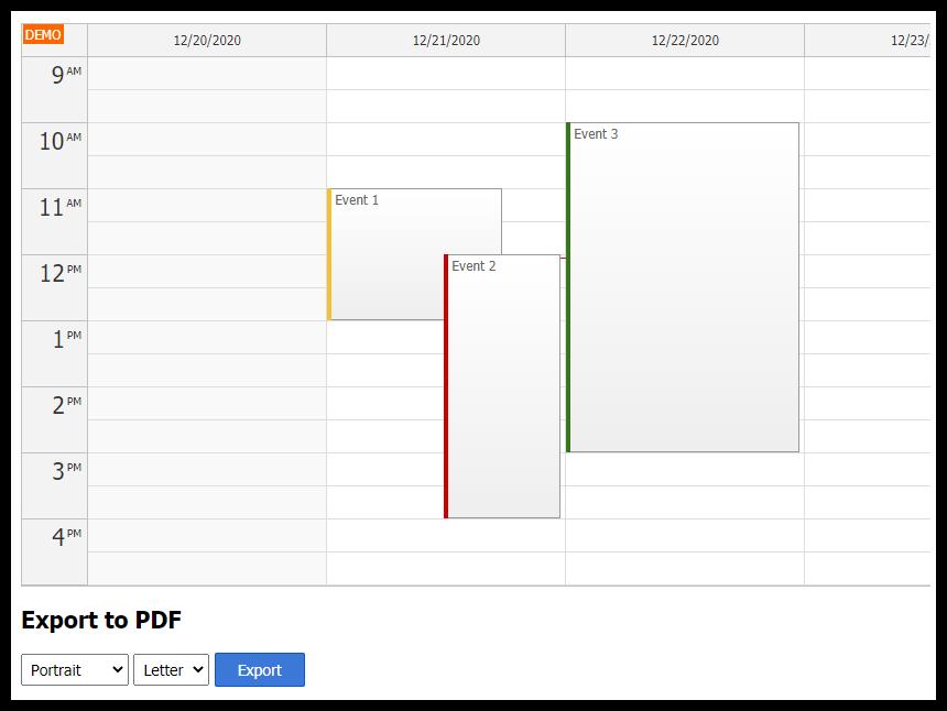 javascript calendar pdf export