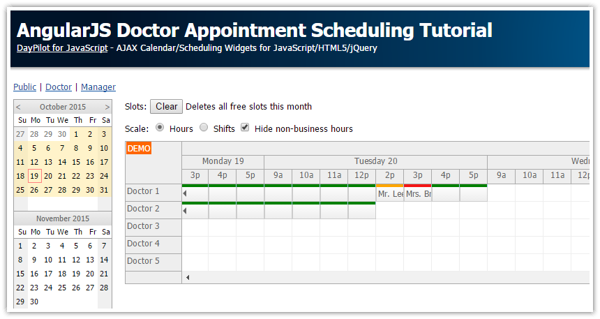 angularjs doctor appointment scheduling