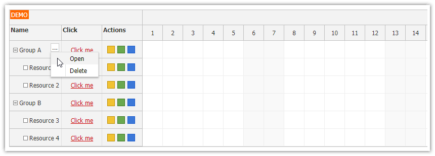 angular scheduler row header actions