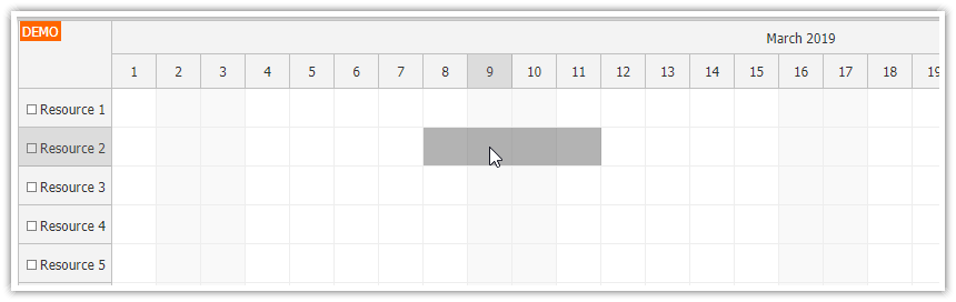 JavaScript Scheduler: Skip Non-Business Cells during Drag and Drop