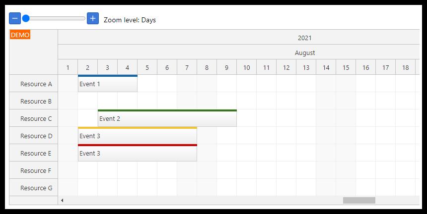 react scheduler timeline zoom
