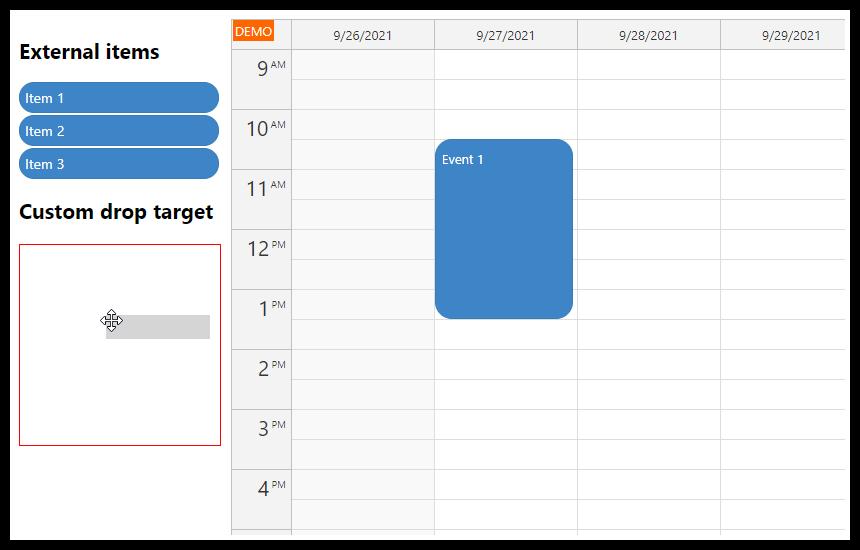 JavaScript Calendar: Custom Drop Target for External Items
