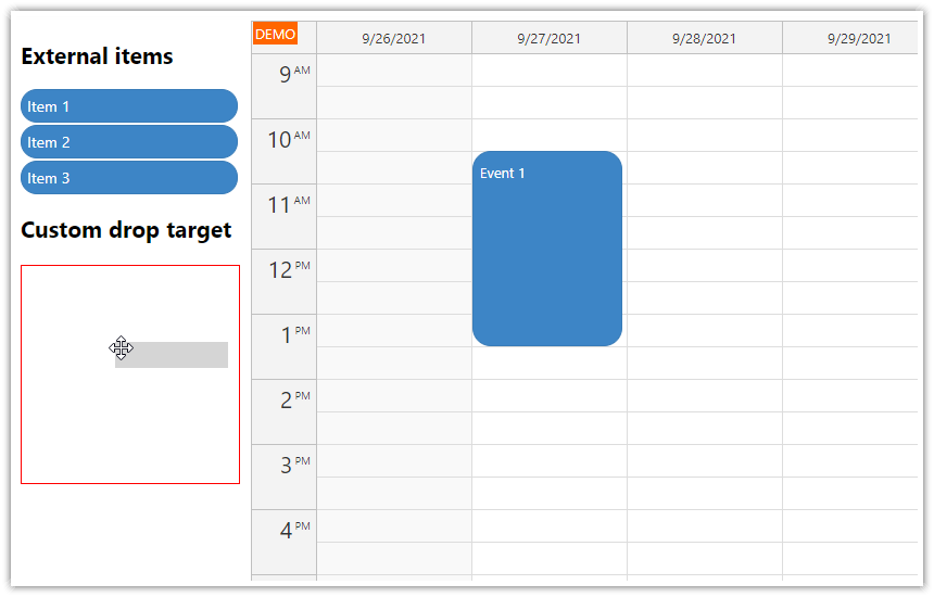 javascript calendar custom drop target for external items