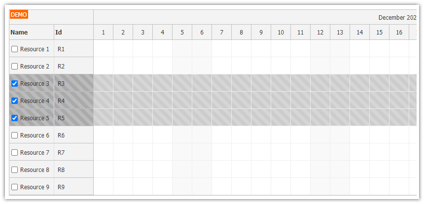 JavaScript Scheduler: Using Checkboxes to Select Rows