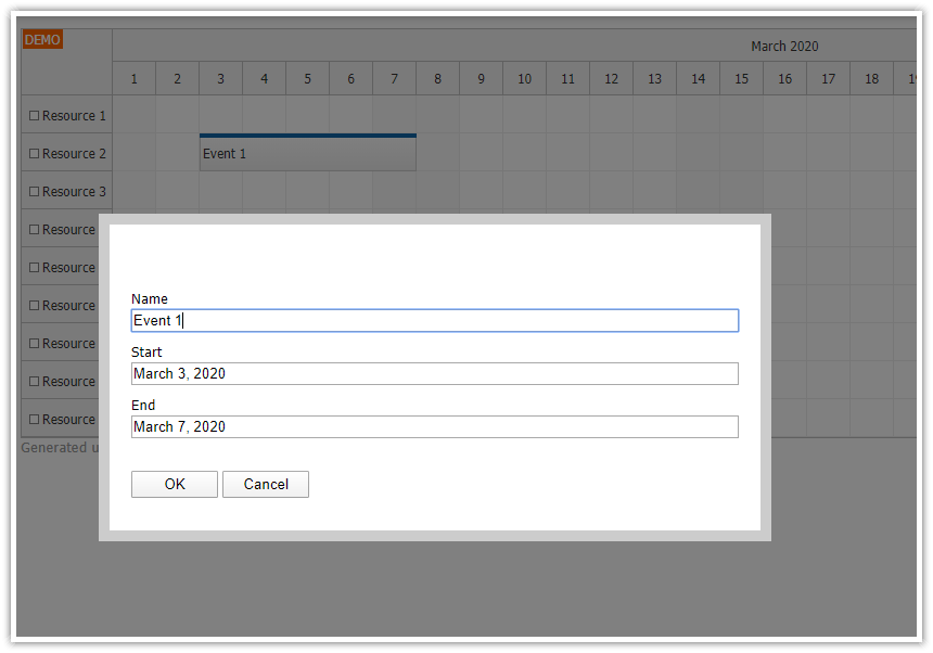 javascript scheduler edit multiple fields modal dialog