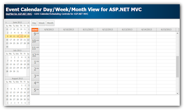 Event Calendar with Day/Week/Month Views for ASP.NET MVC