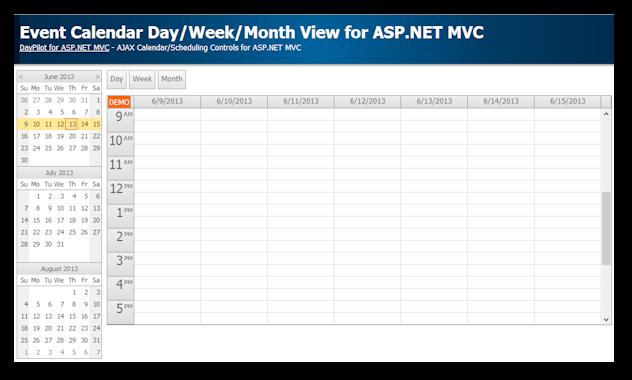 event calendar asp.net mvc week