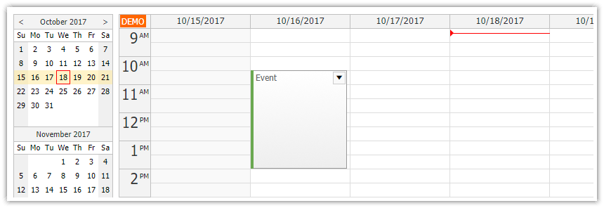 javascript weekly calendar asp.net core