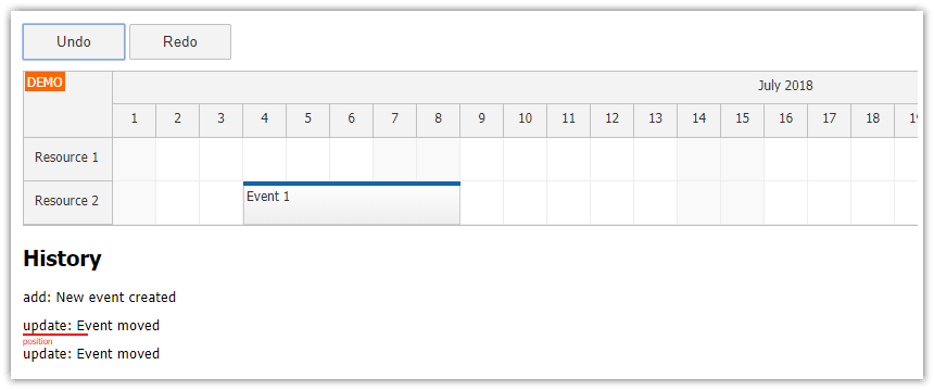 JavaScript Scheduler: Undo/Redo