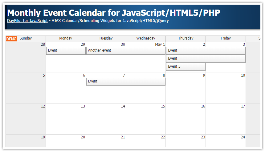 monthly event calendar javascript php
