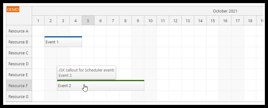 react scheduler bubble callout jsx component