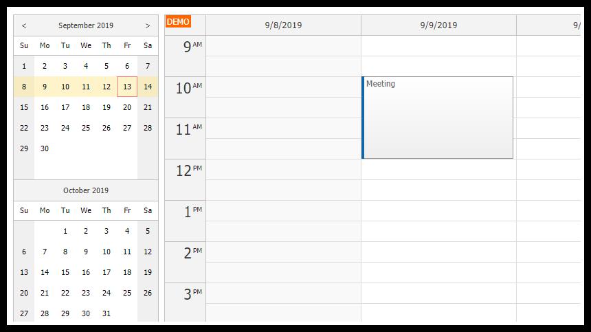 angular calendar component typescript php mysql