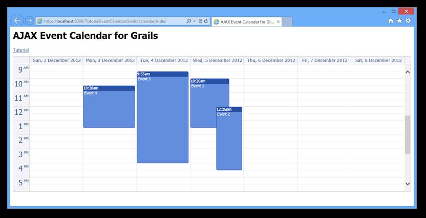 ajax event calendar grails open source