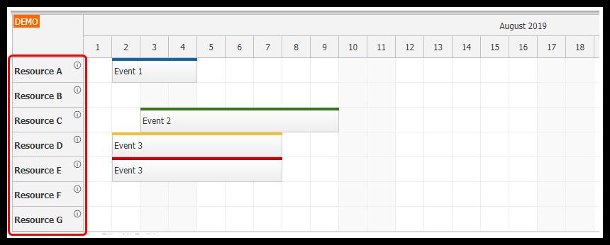 react scheduler rendering jsx components in row header