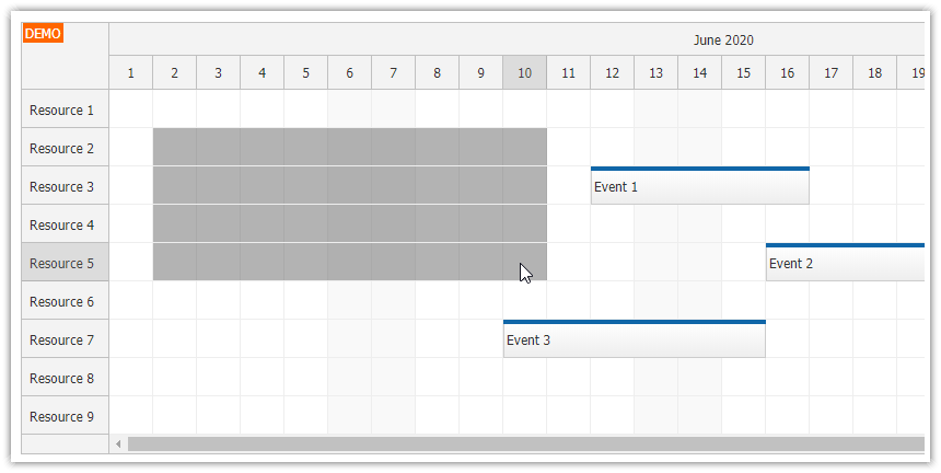 javascript scheduler time range rows adjacent