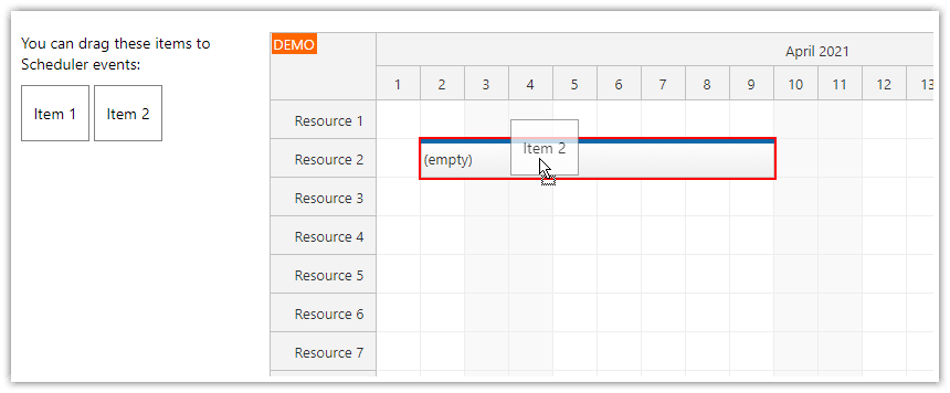 javascript scheduler events as drag and drop target