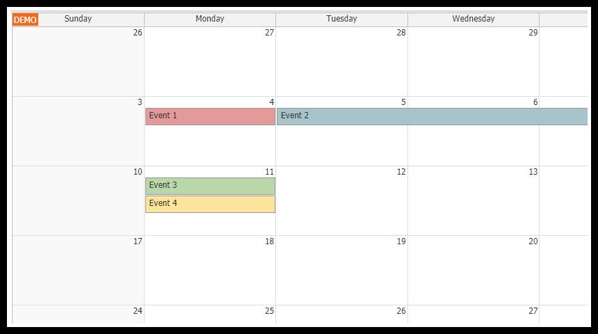 angular5 monthly event calendar component