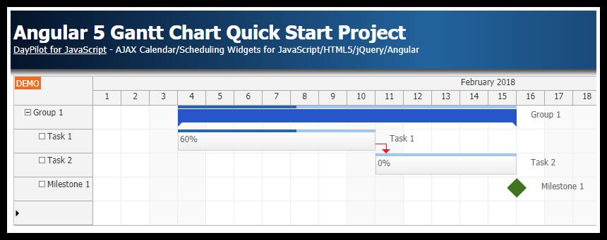 Angular 5 Gantt Chart Quick Start Project