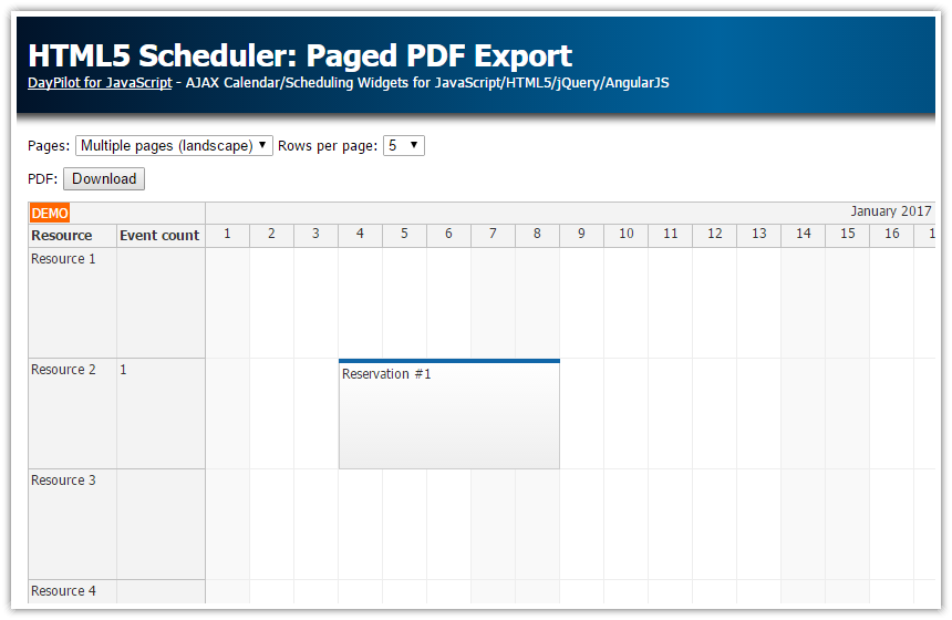 html5 javascript scheduler paged pdf export