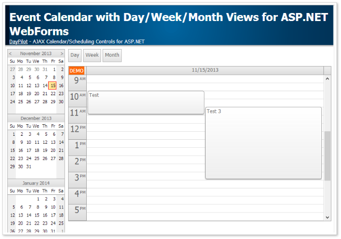 Event Calendar with Day/Week/Month Views for ASP.NET WebForms