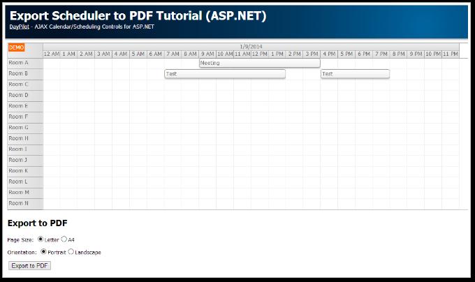 ASP.NET Scheduler PDF Export (C#, VB, SQL Server)