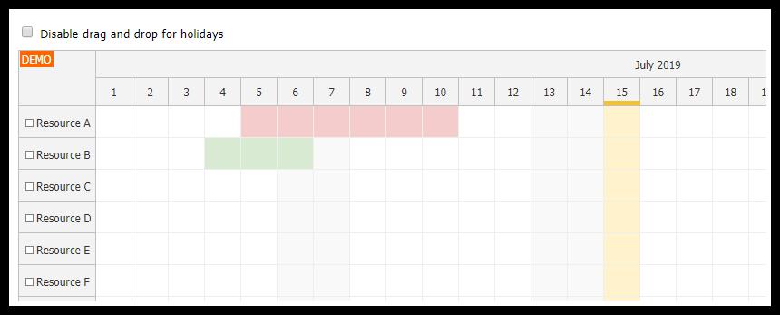 javascript scheduler displaying holidays