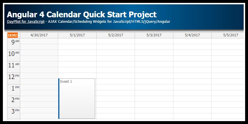 Angular 4 Calendar Quick Start Project