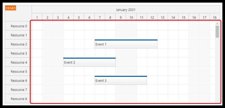 vue scheduler on demand event loading