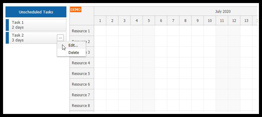 javascript scheduler context menu external items